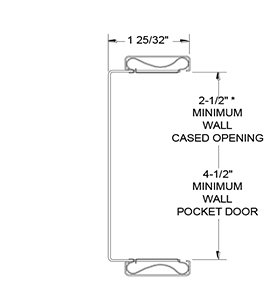 CASED OPENING or POCKET DOOR STRIKE UPRIGHT